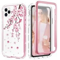 Caka Flower Case for iPhone 11 Pro Case Flower Crystal Diamond Bling Shiny Glitter Protective Full Body Heavy Duty Shockproof Cherry Floral Women Girl Case for iPhone 11 Pro (5.8 inch)(Cherry Blossom)