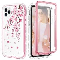 Caka Flower Case for iPhone 11 Pro Max Case Cherry Floral Glitter Bling Shiny Crystal Diamond Protective Full Body Heavy Duty Shockproof Clear Women Girl Case for iPhone 11 Pro Max Cherry Blossom