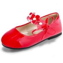 PANDANINJIA Girls Toddler/Little Kid Flora Dress Flats Shoes Pearls Bow Flower Girl Ballet Flat Mary Jane