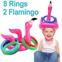 iGeeKid 2 Pack Inflatable Flamingo Ring Toss Game for Kids, Inflatable Pool Party Game Toys for Boys Girls Family Luau Birthday Carnival Game Party Supplies