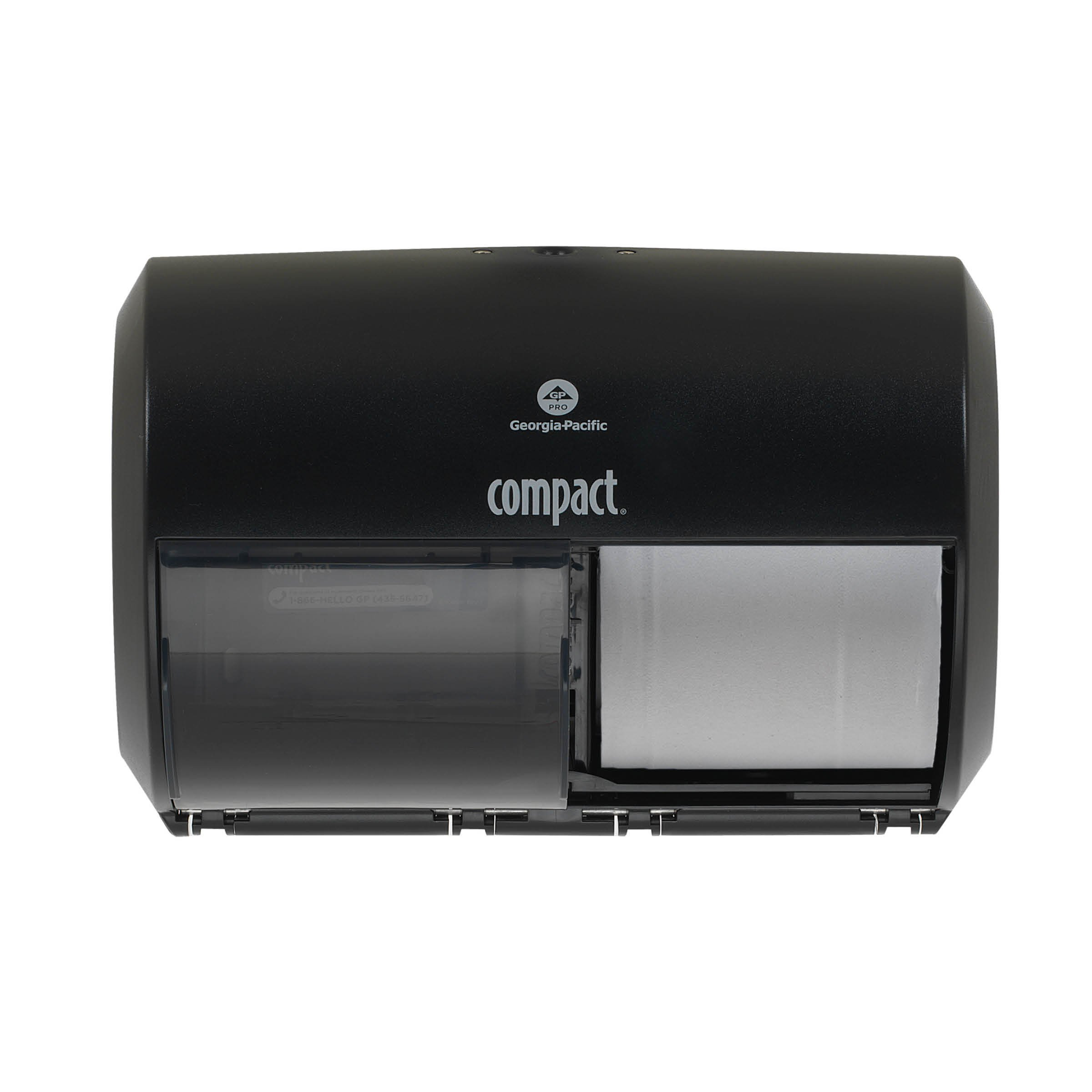 """Compact 2-Roll Side-by-Side Coreless High-Capacity Toilet Paper Dispenser by GP PRO (Georgia-Pacific), Black, 56784A, 10.120"""" W x 6.750"""" D x 7.120"""" H"""