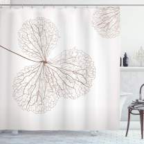 """Ambesonne Flower Shower Curtain, Abstract Cotton Floral Design with Veins Natural Botanic Plants Image Artwork, Cloth Fabric Bathroom Decor Set with Hooks, 84"""" Long Extra, White Brown"""