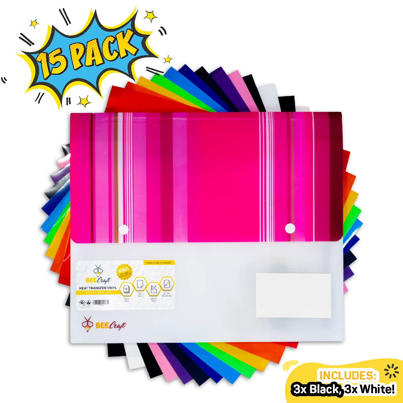 """BEECRAFT Heat Transfer Vinyl for Cricut, Silhouette Cameo and More - HTV Bundle of 15 Pack 12"""" x 10"""" Sheets + Teflon for Iron On T-Shirts and Garments 