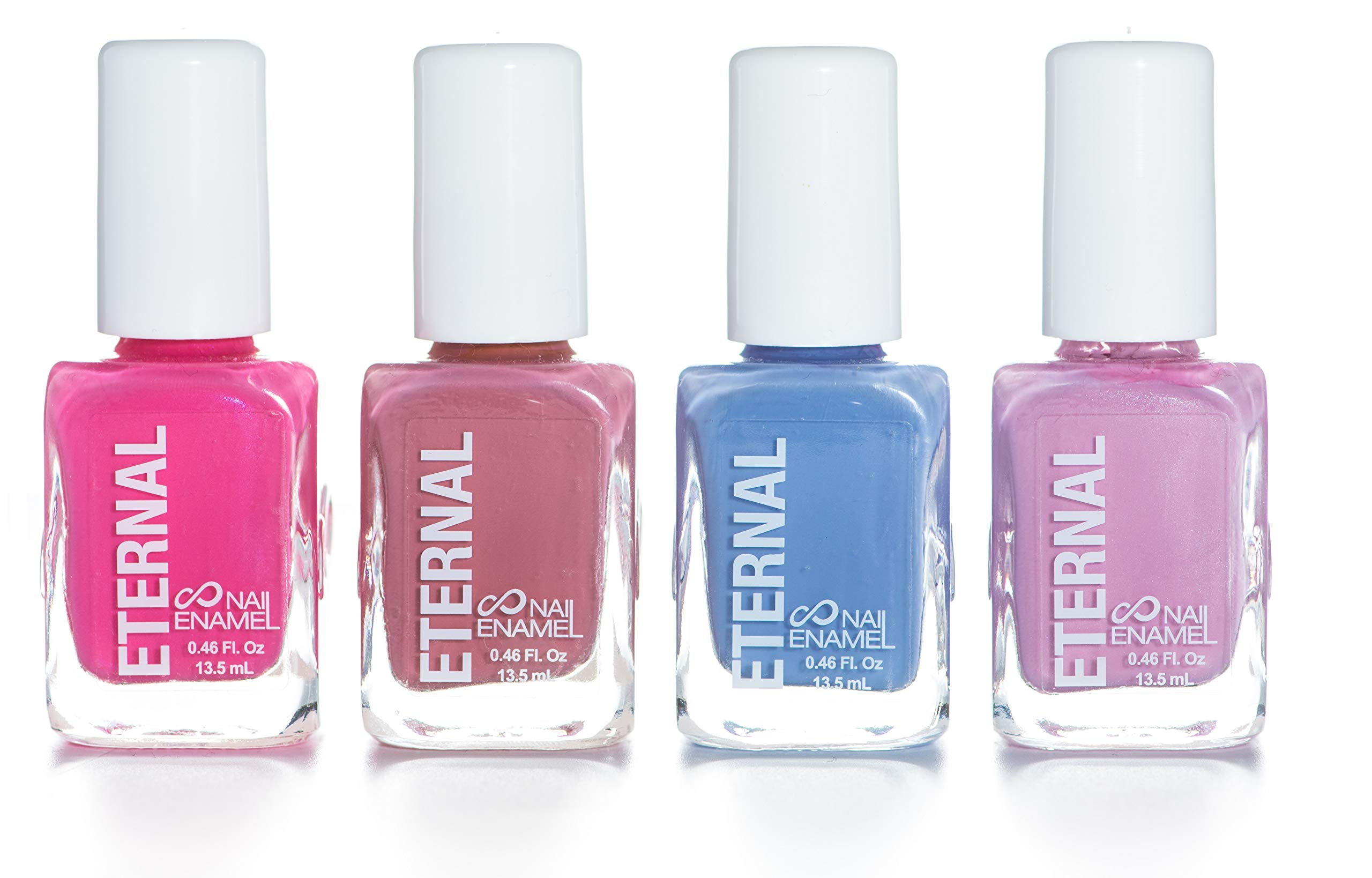 Eternal 4 Collection – 4 Pastel Nail Polish Set: Long Lasting, Quick Dry, Shiny Finish (Tea Time)