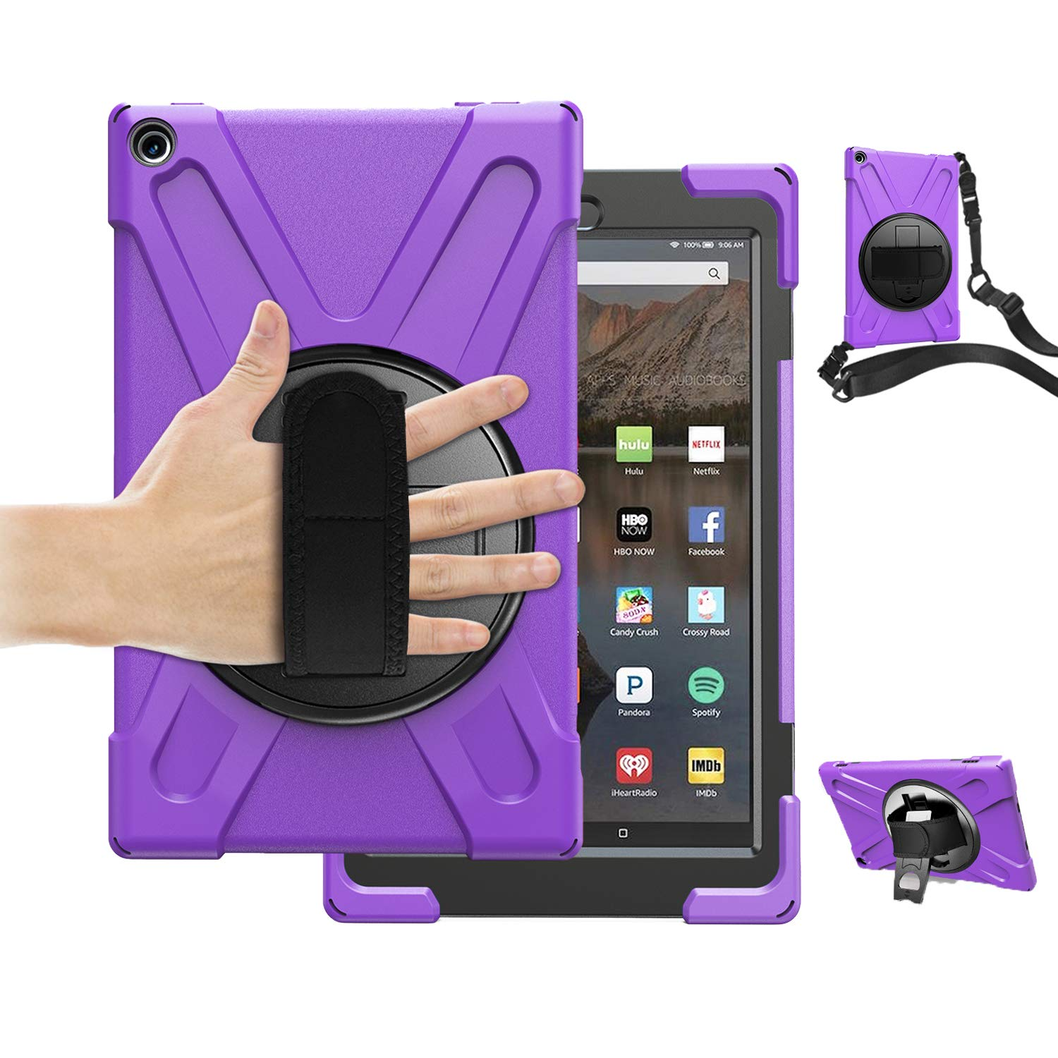 TSQ Fire HD 10 Tablet Case 2017 with Strap, Hybrid Drop Protection Durable Silicon Rugged Protective Case with 360 Degree Rotating Stand/Hand Strap+Shoulder Belt for Amazon Kindle Fire HD 10,Purple