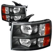 DNA Motoring HL-OH-CSIL07-BK-AM Black Amber Headlights Replacement For 07-13 Silverado