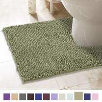 ITSOFT Non-Slip Shaggy Chenille Toilet Contour Bathroom Rug with Water Absorbent, Machine Washable, 21 x 24 Inches U-Shaped Sage Green