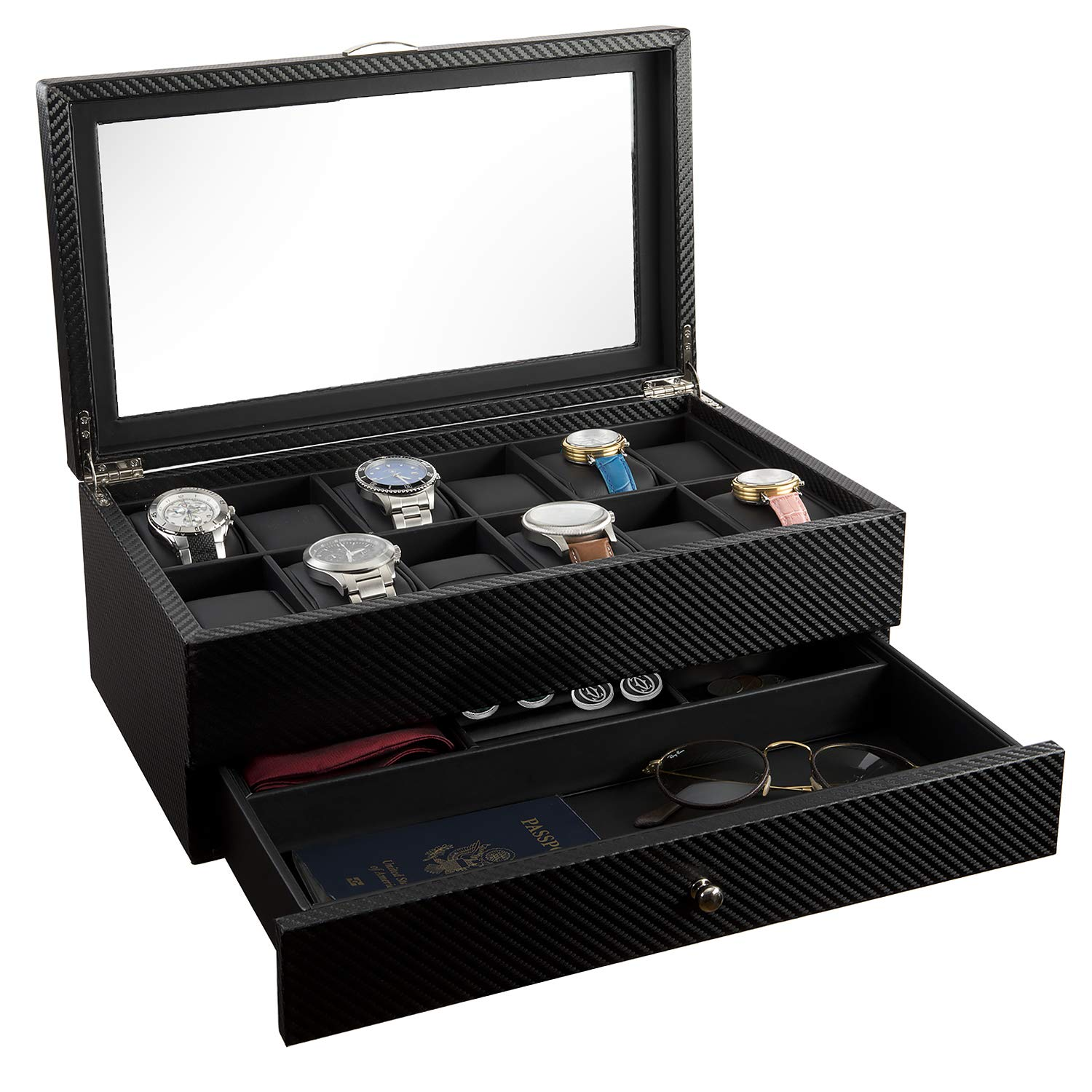 Watch Box- Display Case & Organizer For Men| First-Class Jewelry Watch Holder| 12 Watch Slots & Valet Drawer for Sunglasses, Rings, Phone| Sleek Black Color, Glass Top, Carbon Fiber, & Faux Leather