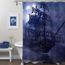 "MitoVilla Nautical Sailboat Shower Curtain, Flying Dutchman on Ocean Wave in a Grey Foggy Moonlit Night, 3D Painting Sailing Pirate Ghost Ship Art Decor for Kids and Mens Bathroom, Blue, 72"" W x 78"" L"