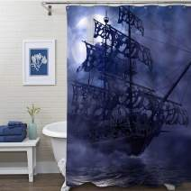 """MitoVilla Nautical Sailboat Shower Curtain, Flying Dutchman on Ocean Wave in a Grey Foggy Moonlit Night, 3D Painting Sailing Pirate Ghost Ship Art Decor for Kids and Mens Bathroom, Blue, 72"""" W x 78"""" L"""