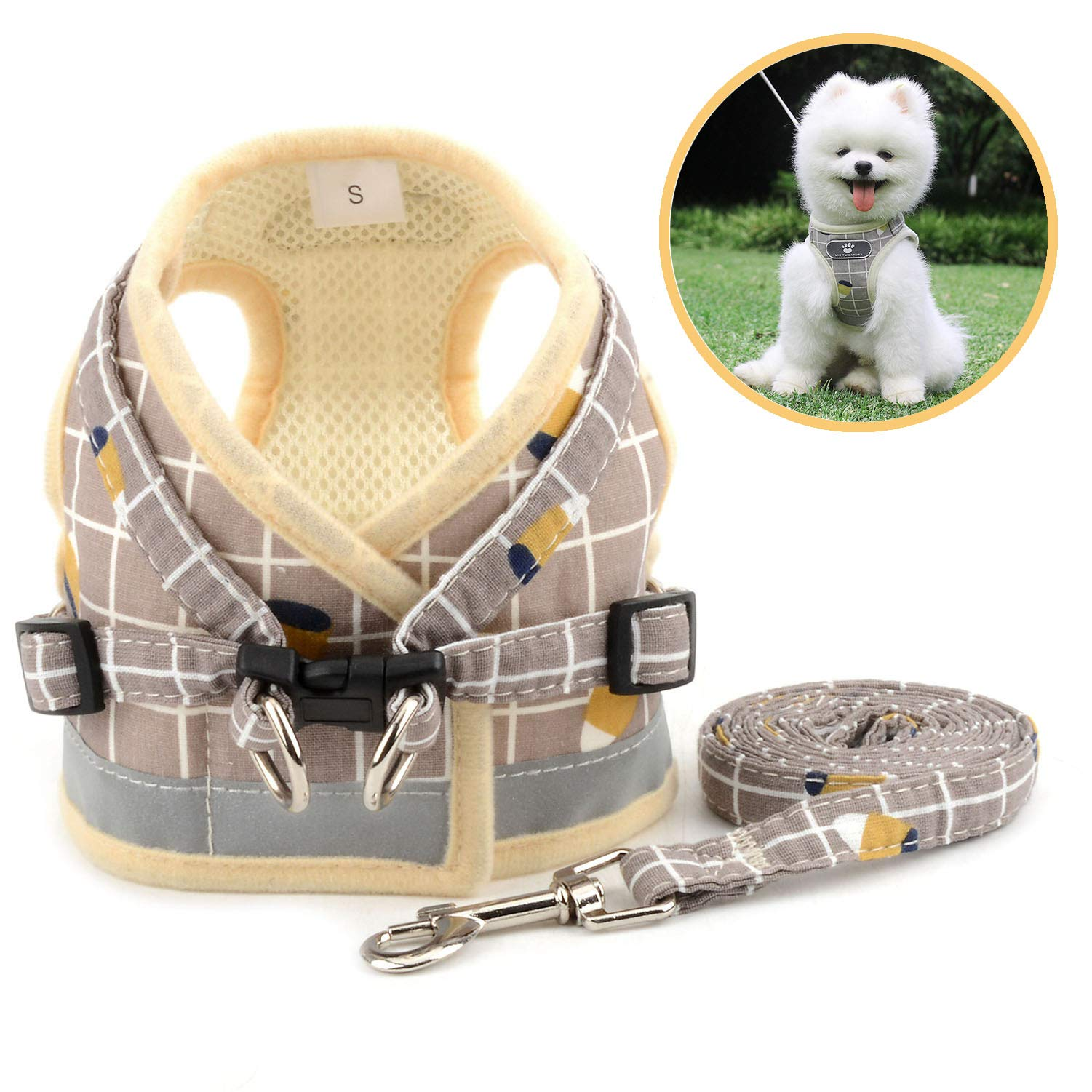 Zunea No Pull Small Dog Harness and Leash Set Adjustable Reflective Step-in Chihuahua Vest Harnesses Mesh Padded Plaid Escape Proof Walking Puppy Jacket for Boy Girl Pet Dogs Cats