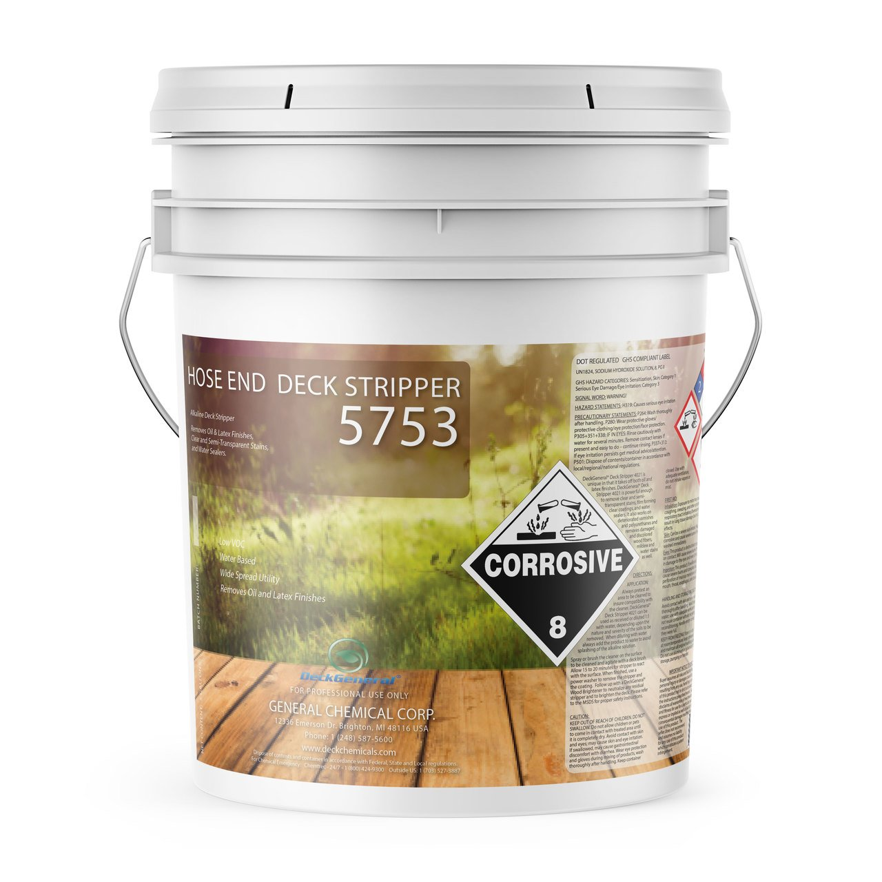 Deck Stripper 5753 by DeckGeneral | Removes Stains, Finishes, Coatings, Sealers & Paint | Easy to Apply | Works on Multiple Wood Surfaces | 0 VOC | Water Based Formula | 5 Gallons