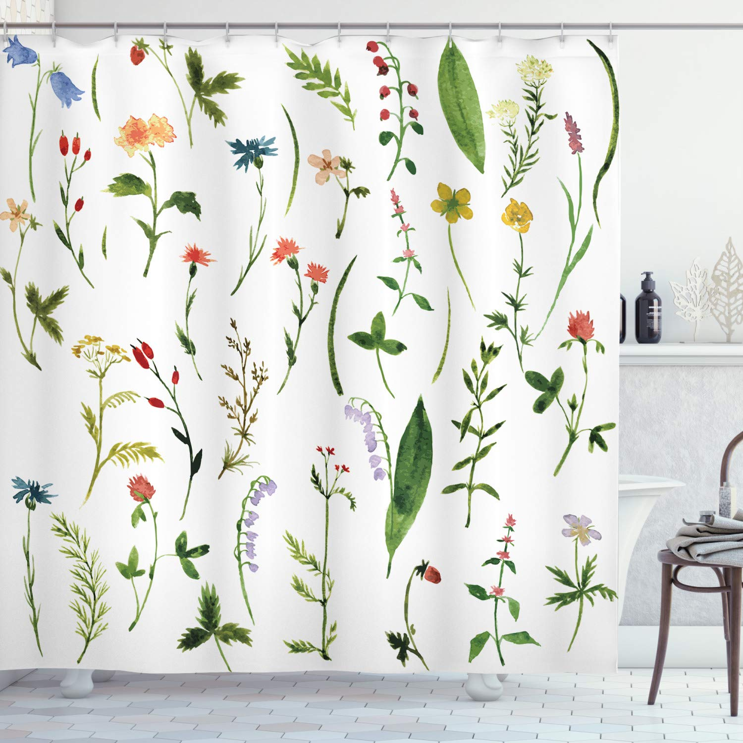 """Ambesonne Watercolor Flower Shower Curtain, Different Kinds of Flowers with Herbs Weeds Plants and Earth Elements, Cloth Fabric Bathroom Decor Set with Hooks, 70"""" Long, White Green"""