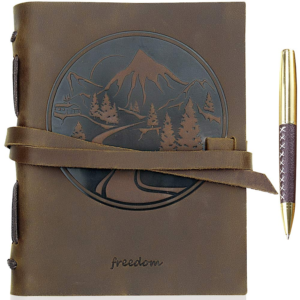 """Leather Journal Mountain Notebook Embossed Handmade Travel Diary, A5 Vintage Writing Bound Journal For Men & For Women Genuine Antique Rustic Leather 6""""x8"""" Engraved Perfect for Notes Sketchbook + Pen"""