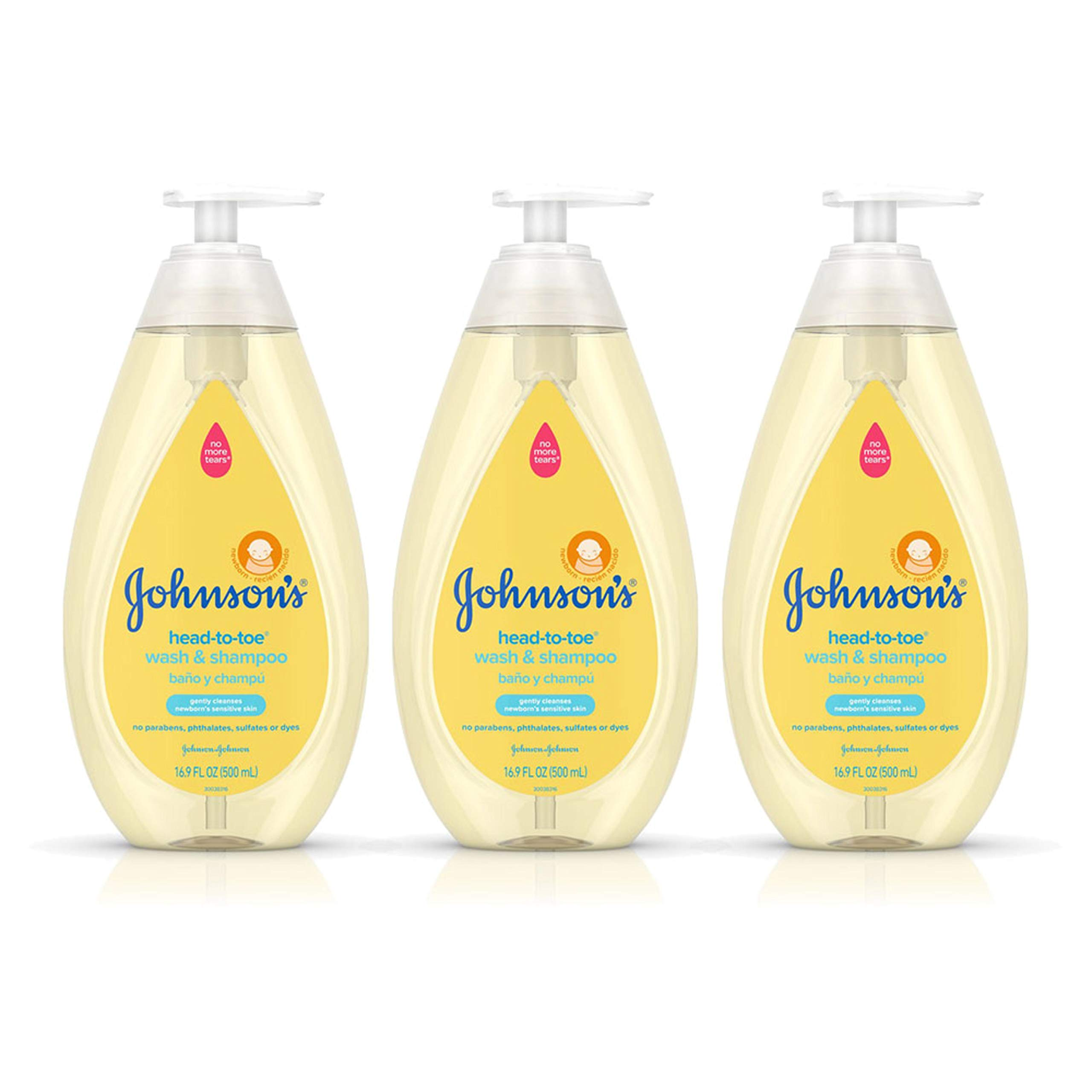 Johnson's Head-To-Toe Gentle Baby Wash & Shampoo, Tear-Free, Sulfate-Free & Hypoallergenic Wash for Baby's Sensitive Skin & Hair, 16.9 fl. Oz (Pack of 3)