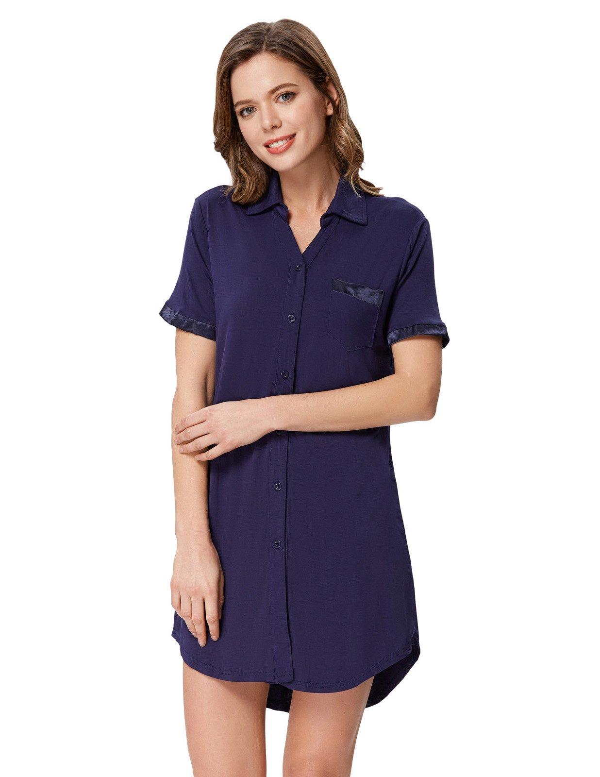 Zexxxy Women's Pj Shirt Long Sleeve Pajama Top Button Down Lapel Sleep Shirt Dress