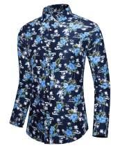 QZH.DUAO Men's Long Sleeve Button Down Floral Shirt