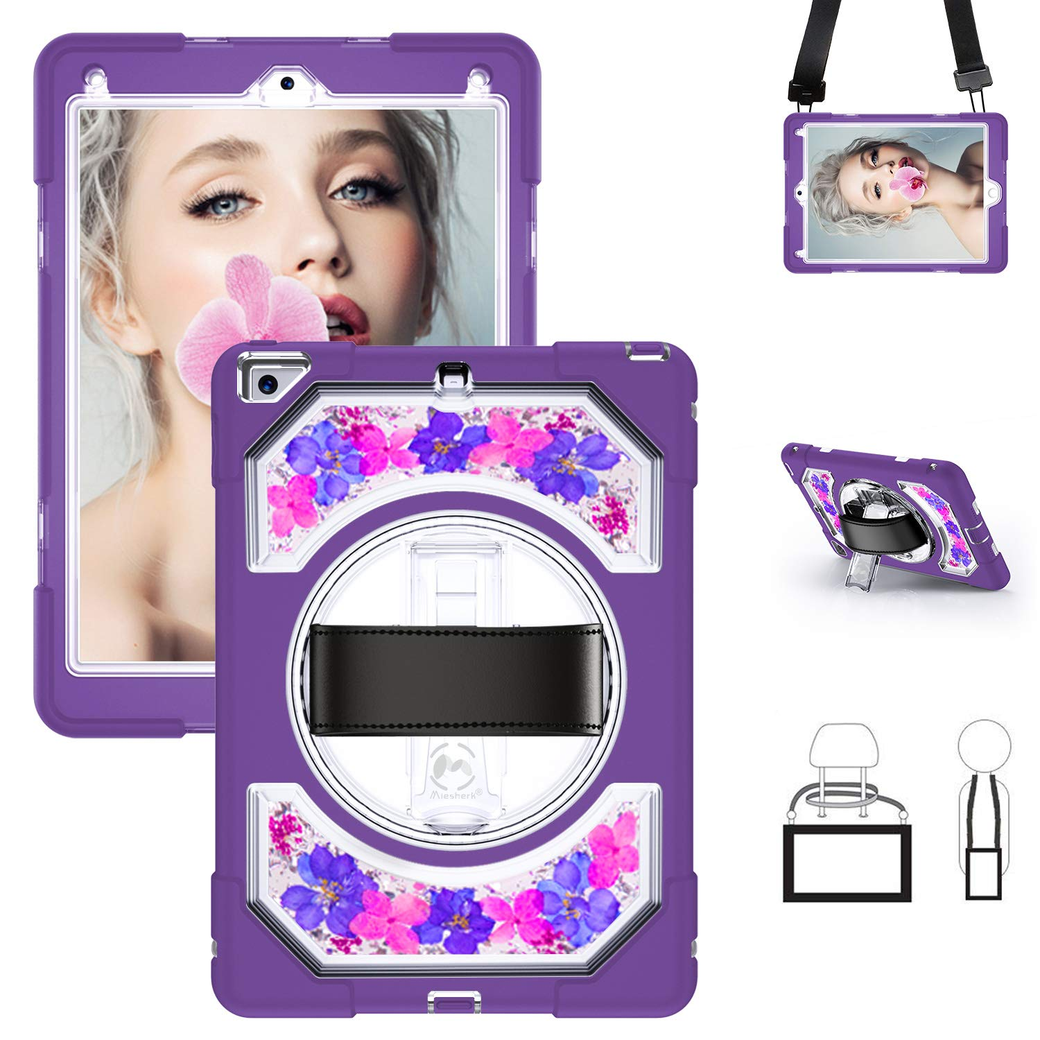 Miesherk iPad 6th/5th Generation Case, Heavy Duty Shockproof Protective Case with 360 Rotating Stand & Hand Strap & Shoulder Strap for iPad 9.7 2018/2017, Purple Flowers