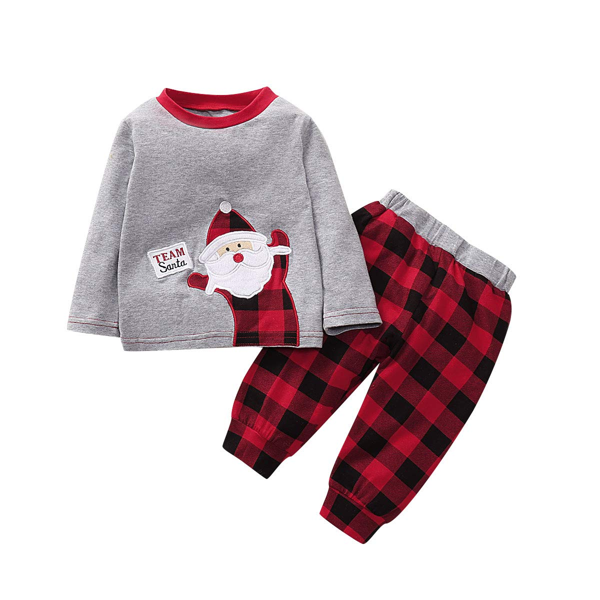 Baby Christmas Outfits Set Infant Boys Girls Long Sleeve Santa Claus Romper+Snow Plaids Pant with Hat Christmas Clothes Set