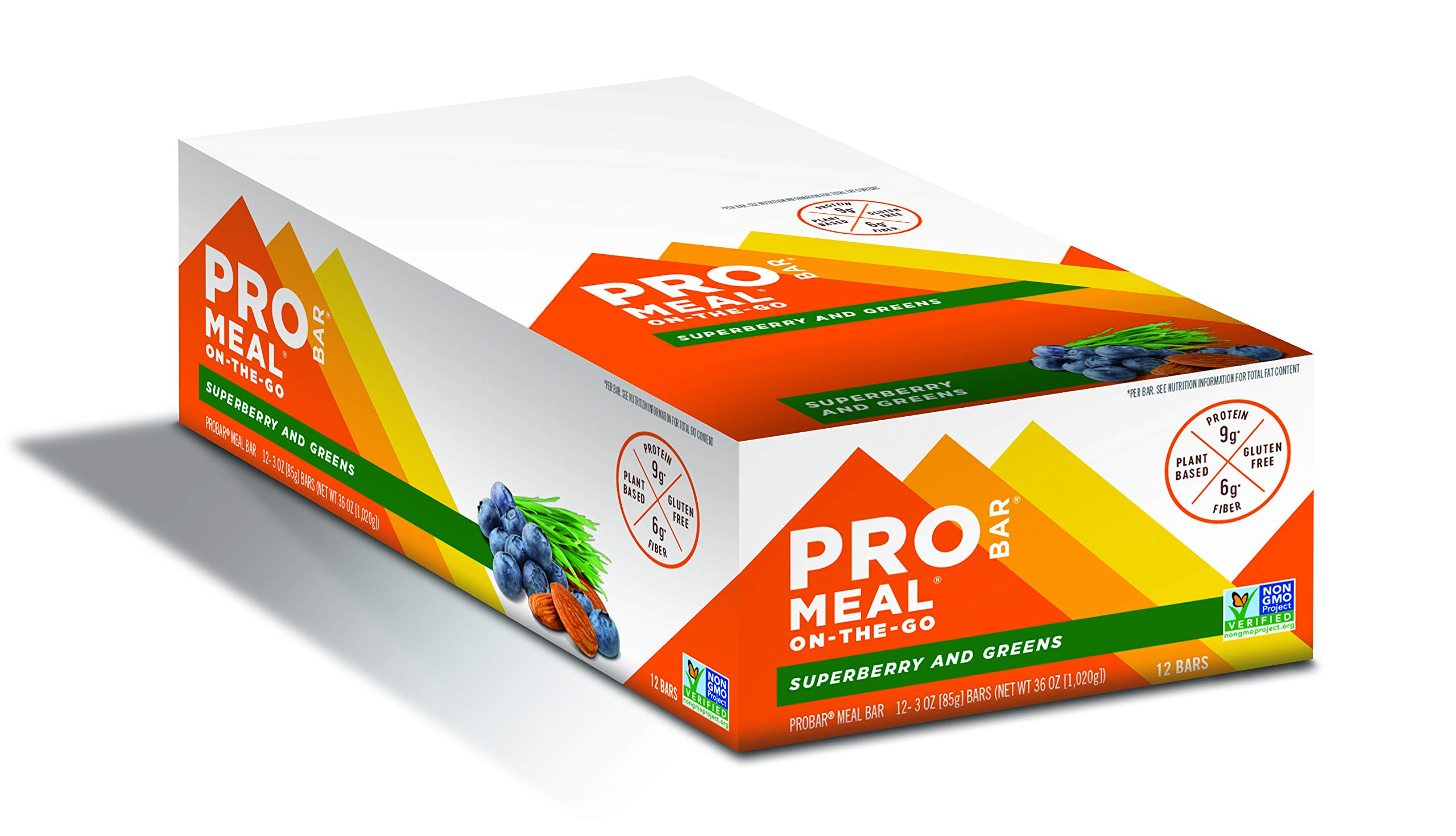 PROBAR - Meal Bar, Superberry and Greens, Non-GMO, Gluten-Free, Certified Organic, Healthy, Plant-Based Whole Food Ingredients, Natural Energy (12 Count)
