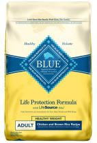 Blue Buffalo Life Protection Formula Healthy Weight Dog Food – Natural Dry Dog Food for Adult Dogs – Chicken and Brown Rice – 15 lb. Bag