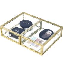 Antique Spacious Mirror Glass 2Drawers Makeup Organizer/ Vanity Comestic Storage /Stunning Gold Dresser Cube Display for Pallete/Jewelry/Makeup brushes/Eyeliner/Cream/Perfumes with Lid Dustfree