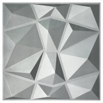 """Art3d 3D Paneling Textured 3D Wall Design, Silver Diamond, 19.7"""" x 19.7"""" (12 Pack)"""