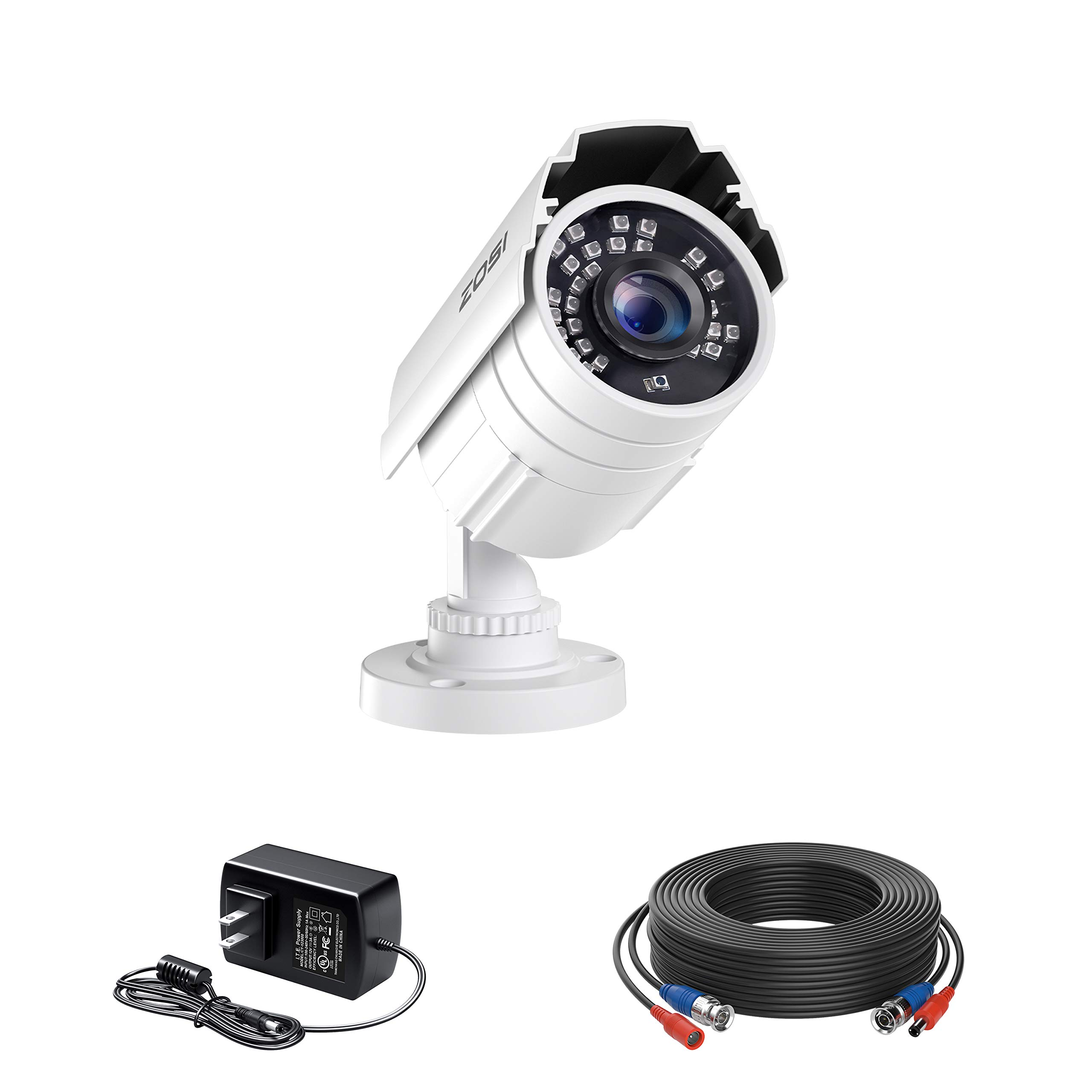 ZOSI 1080p HD 2MP Surveillance Camera Outdoor Indoor (Hybrid 4-in-1 HD-CVI/TVI/AHD/960H Analog CVBS),80ft IR Night Vision,90° View Angle Weatherproof Security Bullet Camera with Cable and Power Supply