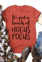 Women It Just A Bunch of Hocus Pocus Halloween Letter Graphic T-Shirt Short Sleeve O-Neck Top Tee