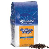 Manatee Caribbean Delight Whole Bean Coffee 2 Pound Bag Rich Medium Roast Flavored Coffee with Hints of Coconut Hazelnut and Caramel Low Acid Coffee
