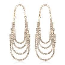 Sparkly Rhinestone Jewel Drop Statement Earrings - Bridal Wedding Crystal Cubic Chandelier Dangles Teardrop Hoop, Fan Tassel Waterfall Duster