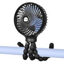 WiHoo Mini Handheld Stroller Fan,2600mAh Personal Portable Baby Car Seat Fan with Flexible Tripod Fix on Stroller,USB or Battery Powered Desk Fan Adjustable 3 Speeds for Camping