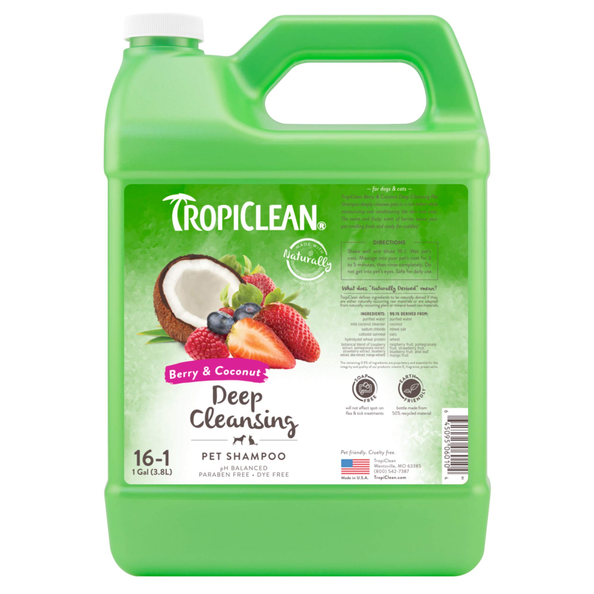 TropiClean Berry & Coconut Deep Cleansing Shampoo for Pets, 1 gal - Effective Cleansing for Smelly Dogs and Cats, Made in the USA