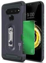 CoverON Credit Card Holder Kickstand Zipp Series for LG V50 ThinQ Case (5G 2019), Navy Blue