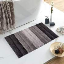 """Lewondr Stripe Door Mat, Non-Slip Soft Microfiber Entry Way Welcome Doormat Bathroom Rug, Heavy Duty, Absorbent, Machine Wash Bath Mat for Indoor Outdoor 20""""x32""""(50x80cm) - Gradient Gray"""