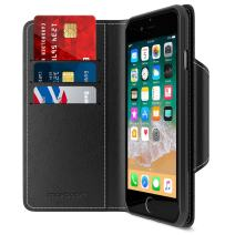 Maxboost iPhone 8 Wallet Case [Folio Style] [Stand Feature] mWallet Series Apple iPhone 8 (2017)/ iPhone 7 (2016) [Black] Protective Credit Card Leather Cover [Card Slot+Side Pocket] Magnetic Closure