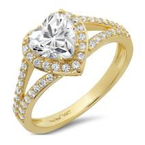 1.85 CT Heart Cut CZ Pave Solitaire Designer Classic Ring Band 14k Yellow Gold