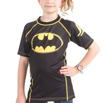 Fusion Batman 1989 Black Logo Kids Compression Shirt Rash Guard- Short Sleeve