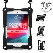 Cooper Trooper 2K Rugged Case for 10-10.4'' Tablet   Tough Bumper Protective Drop Shock Proof Kids Holder Carrying Cover Bag, Stand, Hand Strap (Black)