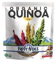 Happy Andes Tri-Color Organic Quinoa 3 lbs - Non Gluten, Whole Grain Quinoa - Ready to Cook Food for Oats and Seeds Recipes - Healthy Meal with Vitamins and Protein - Best Value