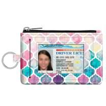Zip ID Case Card Holder, Fintie Slim Coin Purse Wallet RFID Blocking Change Pouch with Key Chain (Moroccan Love)