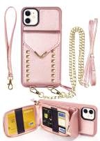 """iPhone 11 Wallet case, ZVE iPhone 11 Crossbody Case with Zipper Card Slot Holder Wrist Strap Shoulder Chain Leather Handbag Purse for Apple iPhone 11 6.1"""" 2019 - Rose Gold"""