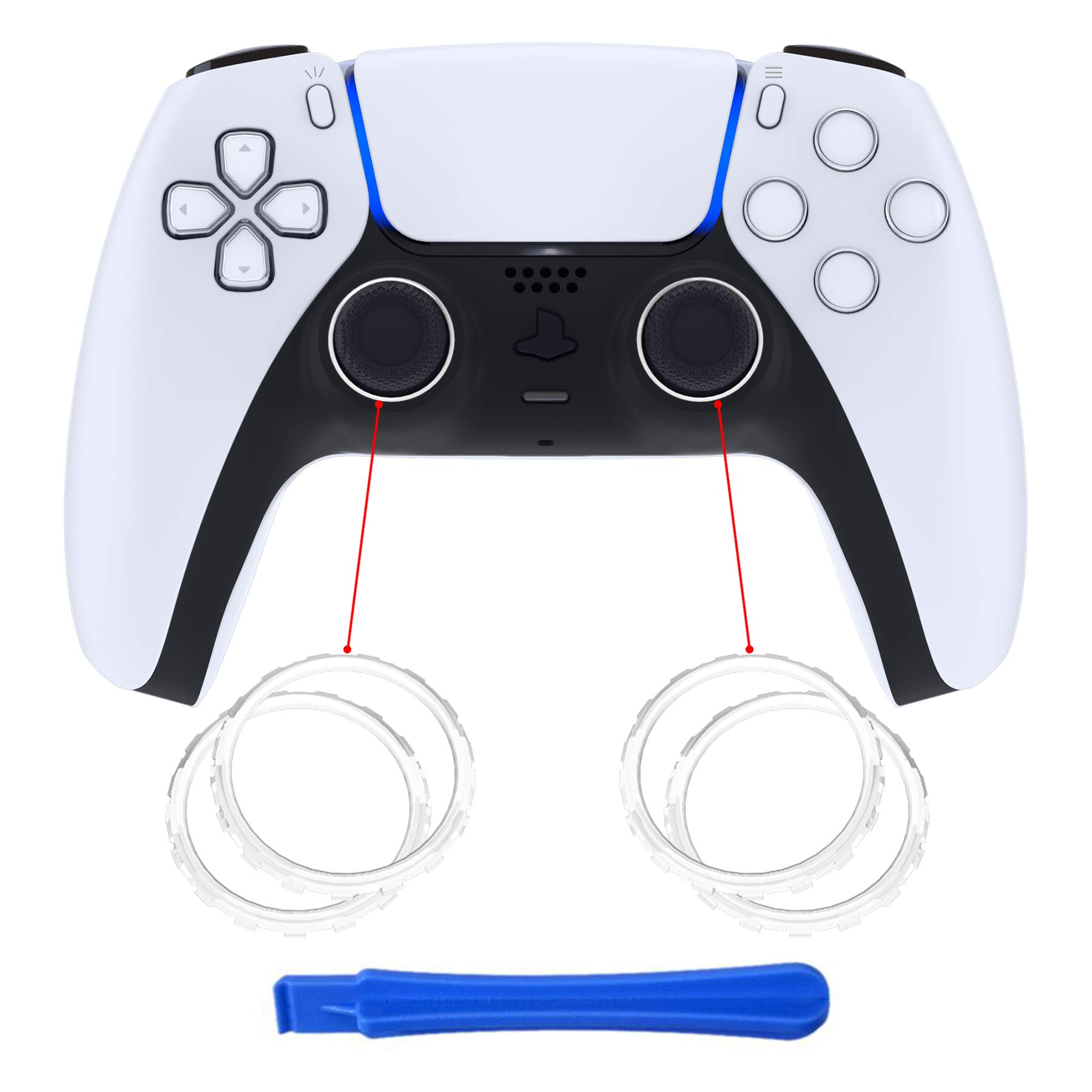 eXtremeRate White Replacement Accessories Accent Rings for DualSense 5 PS5 Controller - Controller NOT Included