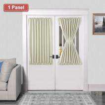 DWCN French Door Curtains – Rod Pocket Thermal Blackout Curtain for Doors with Glass Window, Kitchen and Patio Doors for Privacy, 54 X 40 Inch Length, 1 Curtain Panel with Tieback, Light Beige