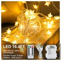 Furado Star String Lights USB Powered, 16.4ft 50 LED Hanging Xmas Fairy Lights with Remote Control,USB Battery Operated Mood Lighting for Bedroom Princess Castle Teepee Tent Party Decoration