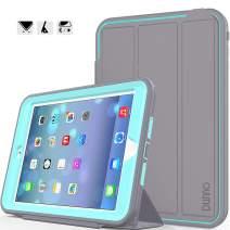 iPad Mini case iPad Mini 2 case iPad Mini 3 case DUNNO Heavy Duty Full Body Rugged Protective Case Whit Auto Sleep/Wake Up Stand Folio & Three Layer Design for Apple iPad Mini 1/2/3 (Grey/Light Blue)
