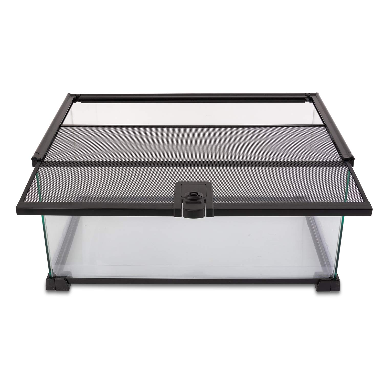"REPTI ZOO 10 Gallon Reptile Tank Glass Natural Cages Terrarium 20"" x 12"" x 10"" Sliding Screen Top for Reptile Hamster Hedgehog Small Animals"