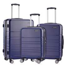 JELLYSTARS 3-Piece Hardside Spinner Luggage Sets ABS-PC Lightweight TSA Lock 4 Mute Double-Wheels Large Tourist Rolling Suitcase Carry-On for Women Men 20 inch 24 inch 28 inch Navy Blue
