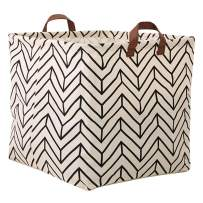 Storage Basket, Large Size Basket Storage - Waterproof and Folding Canvas Fabric Kids Laundry Basket (White Geometry)