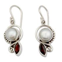 NOVICA Garnet Cultured Freshwater Pearl .925 Sterling Silver Dangle Earrings, Sublime Romance'